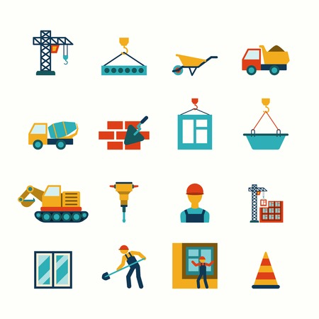 concrete blocks: Building construction structure elements flat pictograms collection with barrow block elevating crane truck abstract isolated vector illustration Illustration