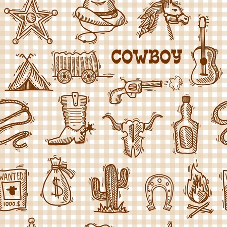 western clothing: Wild west cowboy seamless pattern on squared background with hat horseshoe sheriff badge vector illustration Illustration