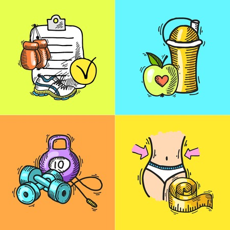 Fitness bodybuilding diet trainer exercise colored hand drawn icons set isolated vector illustration Vector