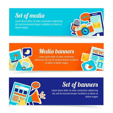 business media: Media news social communication horizontal banner set isolated vector illustration Illustration