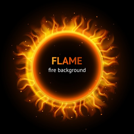 inferno: Burning hot bonfire inferno flame strokes circle realistic background vector illustration