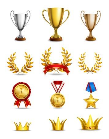 trofeo: Clasificación iconos conjunto de diferentes premios y medallas de tamaño aislado ilustración vectorial