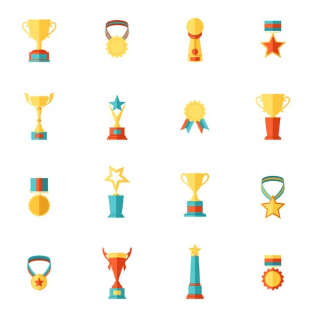 Award icons flat set of trophy medal winner prize champion cup isolated vector illustration