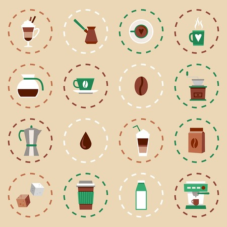 turk: Coffee flat icons set with coffee-bulb turk french press isolated vector illustration
