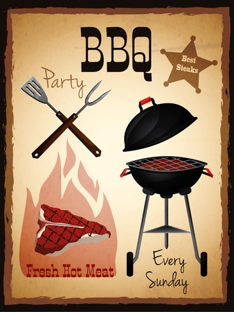 Bbq party fresh hot meat best steaks grill menu advertising poster vector illustration. Vector