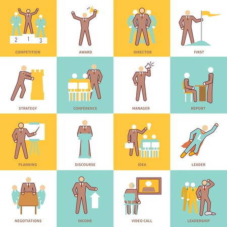 Leadership flat line icons set with competition award director first strategy isolated vector illustration Vector