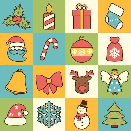 Weihnachtsfeiertagsdekoration flache Linie Symbole mit Mistel Kerze Geschenkbox Socke isoliert Vektor-Illustration gesetzt Standard-Bild - 33221432