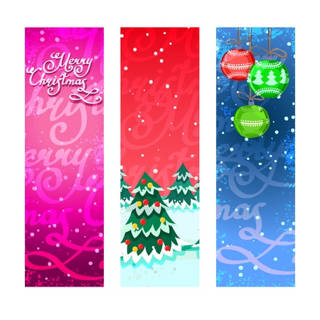 Merry christmas new year holiday ornaments vertical banners set isolated vector illustration Vector