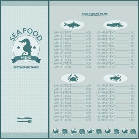 Seafood restaurant menu list template with seahorse and sea food icons vector illustration Vector