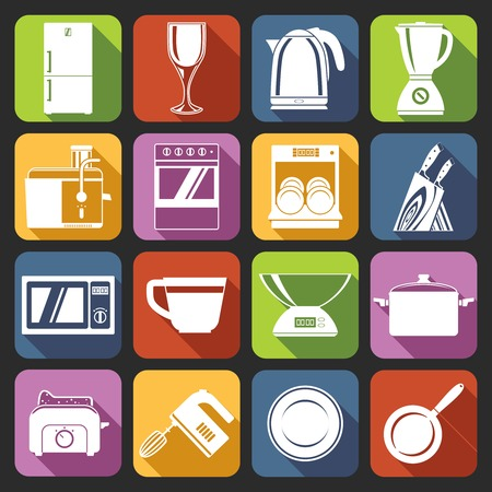 Kitchen appliances icons white set with microwave oven cup weights pot isolated vector illustration Vector
