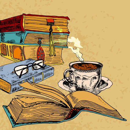 a literary sketch: Vintage books with cup of coffee colored sketch decorative concept vector illustration Illustration