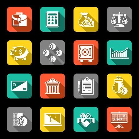 Finance bankbedrijf wisselkantoor vlakke pictogrammen set met geïsoleerde muntstuk handdruk portemonnee vector illustratie Stock Illustratie