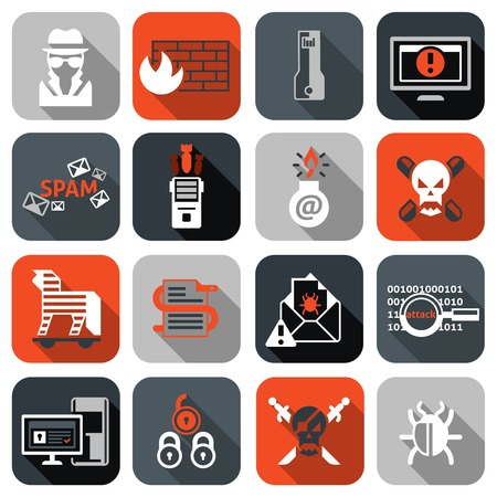 Hacker web security icons flat set with firewall computer spam isolated vector illustration Vector