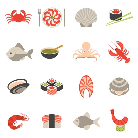 shrimp: Seafood fish menu restaurant icons set flat with crab shrimps shell roll isolated vector illustration Illustration