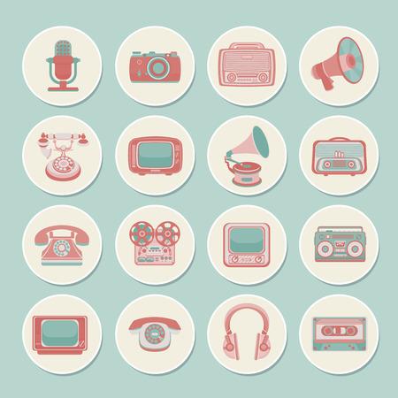 Vintage retro media gadgets icons set of radio camera tv isolated vector illustration Vector