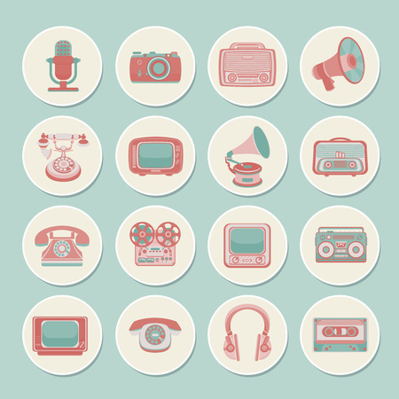 telephone receiver: Vintage retro media gadgets icons set of radio camera tv isolated vector illustration