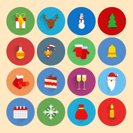 Christmas new year holiday season celebration icons set with gift box deer snowman isolated vector illustration Vector