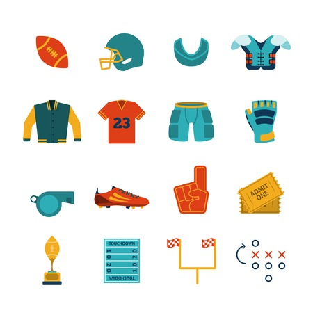 Rugby game accessories flat pictograms collection with chest protective gear and gum shield abstract isolated vector illustration Vector