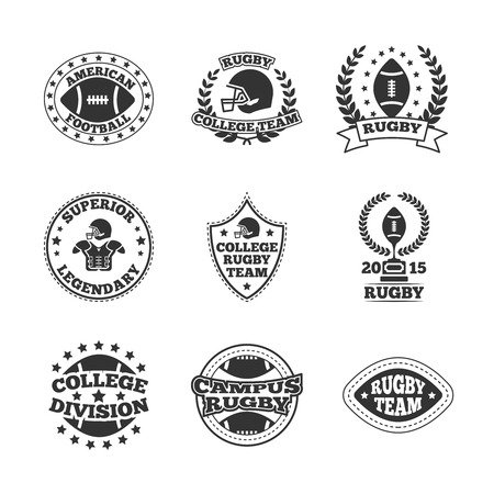 legendary: Rugby campus college legendary team  black graphic labels set with american football division emblem isolated vector illustration