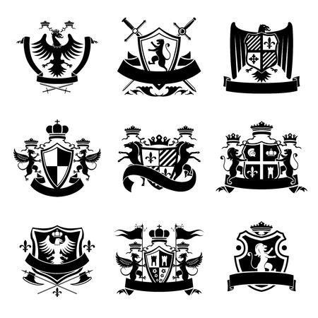 escudo de armas: Escudo heráldico emblemas decorativos conjunto negro con coronas reales y animales aislados ilustración vectorial.