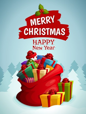 Merry christmas happy new year poster with bag of holiday gifts boxes on winter forest background vector illustration