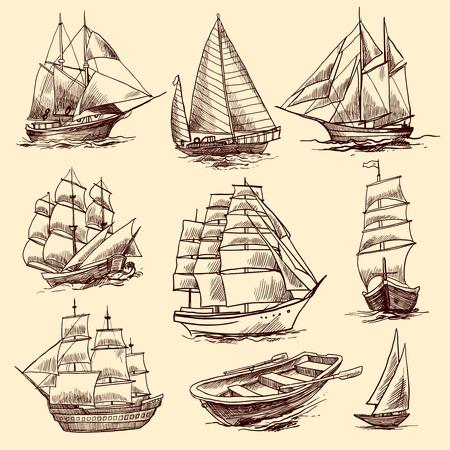 barco pirata: Navegando naves altas yates y elementos decorativos de croquis barco aislados ilustración vectorial