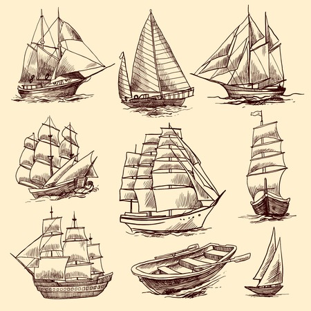parchments: Sailing tall ships yachts and boat sketch decorative elements isolated vector illustration Illustration