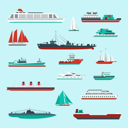 chaloupe: Navires et bateaux de croisi�re de fret et des conteneurs de transport maritime ic�nes d�coratives de couleur ensemble isol� illustration vectorielle