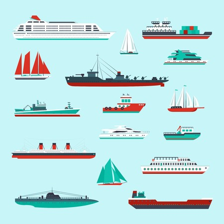 Ships and boats cargo cruise and container marine transport decorative icons colored set isolated vector illustration