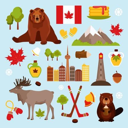 castor: Canadá colorea iconos decorativos establecidos con jarabe de arce aislado castor del hockey ilustración vectorial