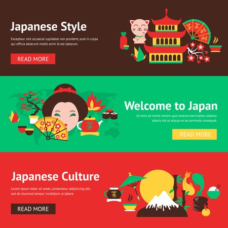 japan food: Japan symbols style and culture banner set with traditional food and travel icons vector illustration Illustration