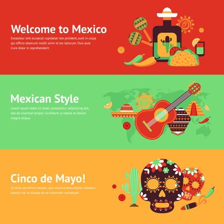 mexico background: Mexico style travel music and food symbols banner set isolated vector illustration