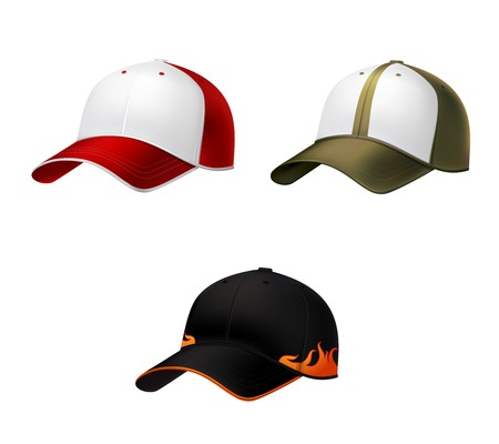 Realistic side view different colors baseball cap decorative icons set vector illustration Vector