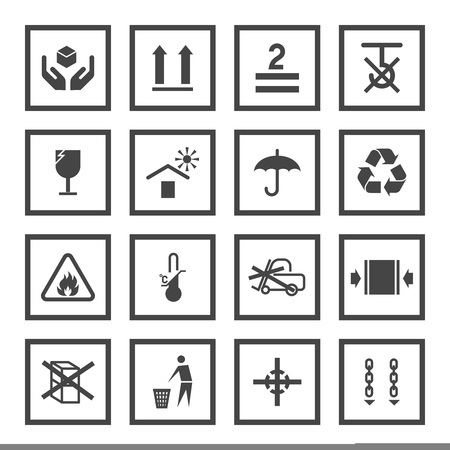 Handling and packing black icons set with fragile warning care symbols vector illustration Vector