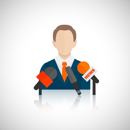 speaker icon: Public speaking person politician business speaker with microphones vector illustration