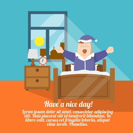levantandose: Que tengas un buen día con cartel despertar persona en la cama ilustración vectorial
