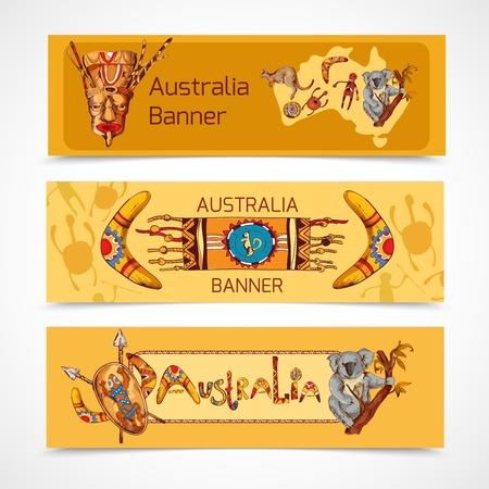aborigen: Australia aborigen tribal étnica coloreado conjunto de banner horizontal boceto aislado ilustración vectorial nativo