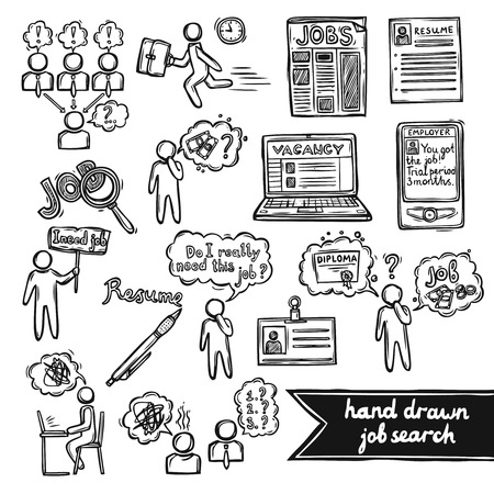 Sollicitatiegesprek schets decoratieve pictogrammen die met geïsoleerd recruitment zoeken sollicitatiegesprek vector illustratie Vector Illustratie