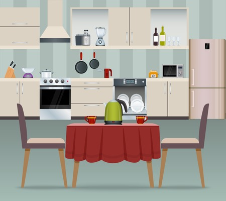 dining room: Kitchen interior modern home food cooking and dining room realistic poster vector illustration Illustration
