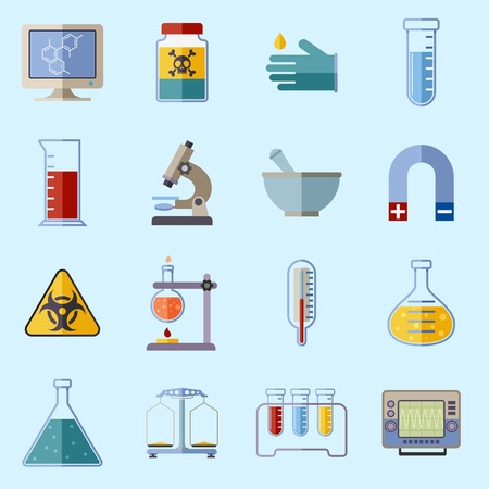 protective gloves: Science and research laboratory icons set with monitor poison protective gloves flask isolated vector illustration Illustration