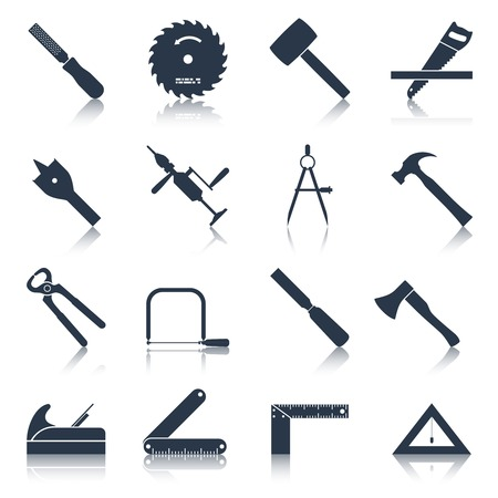 Carpentry wood work tools and equipment black icons set isolated vector illustration Ilustração