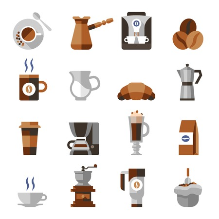 pouch: Coffee icons flat set with french press machine pouch grinder isolated vector illustration
