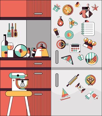modern home: Kitchen interior modern home food cooking flat line design vector illustration