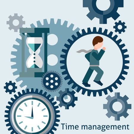 Time management flat concept with running businessman cogwheels clocks and hourglass vector illustration
