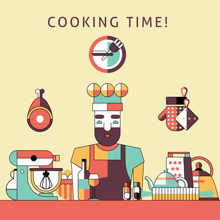 cooking time: Cooking time poster with happy male chef on kitchen with utensils vector illustration