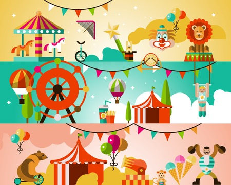 circus caravan: Circus entertainment attractions performances background with jugglers athletes animals vector illustration