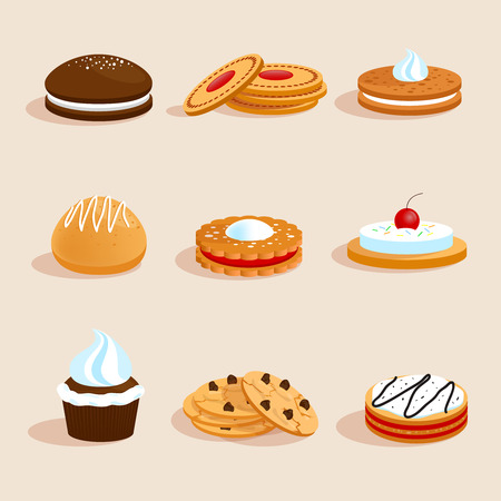 Sweet sugar chocolate biscuit cookies decorative icons set with cream and cherry decoration isolated vector illustration