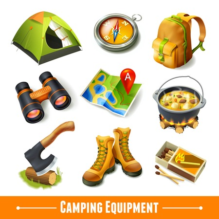 camping equipment: Camping summer outdoor activity equipment decorative icons set isolated vector illustration.