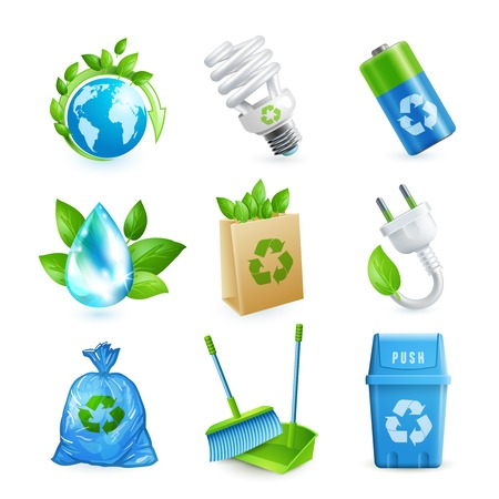 Ecology and waste colored icons set of globe paper bag plug isolated vector illustration. Çizim