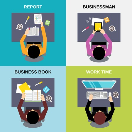 personal computer: Top view businessman business book report work time flat set isolated  vector illustration